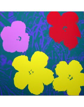 Flowers-Yellow/Purple/Red On Blue 11.65