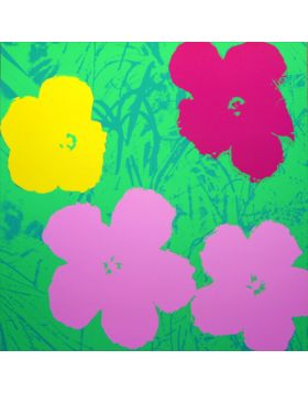 Flowers-Pink/Yellow On Green 11.68