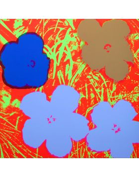 Flowers-Blue On Orange 11.69
