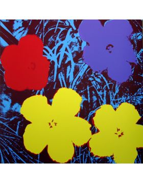 Flowers-Yellow/Red On Blue 11.71