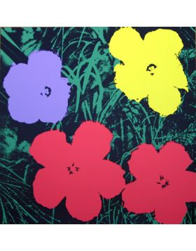 Flowers-Red/Purple/Yellow On Green 11.73