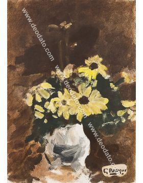 Vase of yellow flowers
