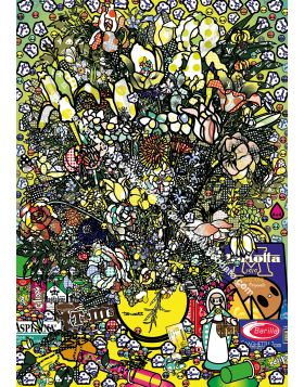 Flowers 2 after Jan Brueghel elder with Aspirina, Barilla, Baci, Calippo, Cola, Louis Vuitton, Motta, Tm, Visa and Maddonna