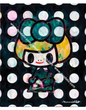 Gioconda green ribbon black dotts