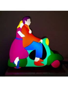 Lovers on Vespa - Light sculpture