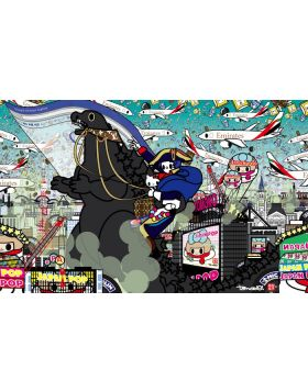 Napoleon Bonaparte with Godzilla, Louis Vuitton, Chanel, Michelin, Danone, Emirates, Kitty, Barilla, PSP, the Louvre, Fukushima, Shibuya, Tokyo tower, Mt Fuji and Google