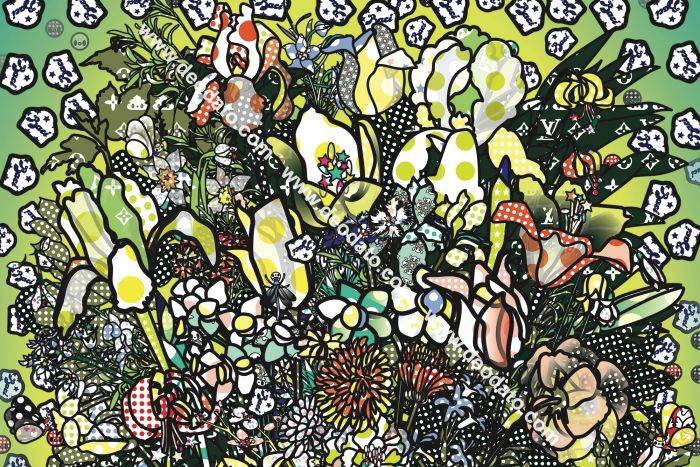Detail 3 of Flowers 2 after Jan Brueghel elder with Aspirina, Barilla, Baci, Calippo, Cola, Louis Vuitton, Motta, Tm, Visa and Maddonna