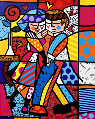 Cheek to Cheek - opera di Romero Britto in vendita allo Stand 36 di Deodato Arte alla GRANDART Milano