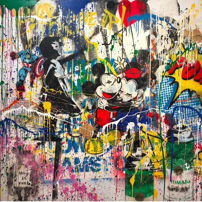 Untitled - Mickey e Minnie - opera di Mr.Brainwash in vendita presso la galleria deodato Arte