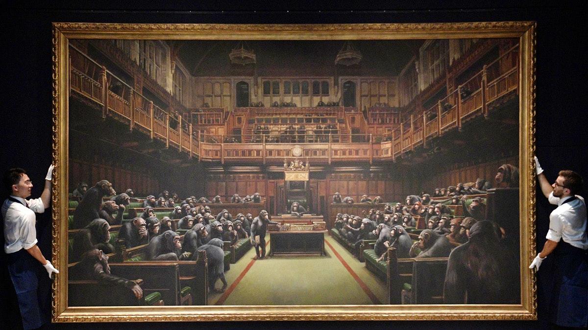 Banksy - Devolved Parliament l'Opera venduta all'asta per 11 Milioni di Euro