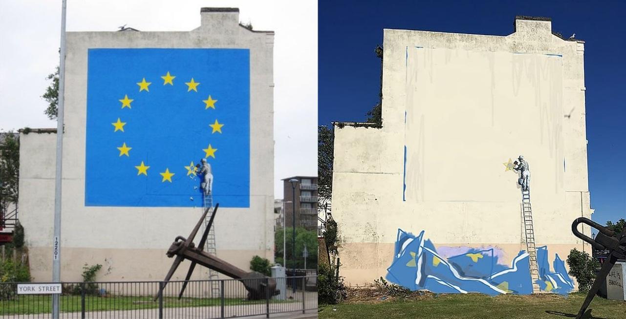 Banksy - Brexit Murales Prima e Dopo